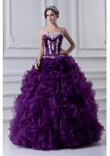Ball Gown Sweetheart Ruffles and Appliques Purple Quinceanera Dress