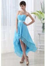 A-line Baby Blue Chiffon High-low Sweatheart Dress Prom with Belt