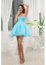 Aqua Blue Sweetheart Beading and Ruching Prom Dress