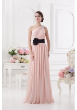 Baby Pink Empire One Shoulder Prom Dress with Ruching and Handle Made Flower