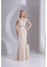 Column One Shoulder Chiffon and Lace Beading Ruching Ivory Prom Dress