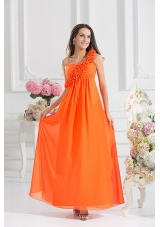 Empire Ruching Hand Make Flowers Orange Red Prom Dress