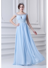 Light Blue Off The Shoulder Empire Chiffon Prom Dress with Beading and Ruching