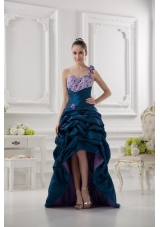 One Shoulder Sweetheart Pick-ups Beading Navy Blue Prom Dress