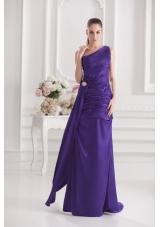Column One Shoulder Floor-length Taffeta Prom Dress