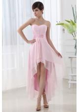 Empire Belt High-low Sweatheart High-low Baby Pink Dress Prom Dress
