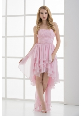 Empire Strapless High-low Ruching Baby Pink Prom Dress