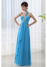 Empire Teal Blue Chiffon Prom Dress with One Shoulder Beading and Ruching