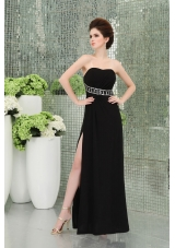Strapless Empire Black Chiffon Belt Prom Dress with High Slit Ruchings