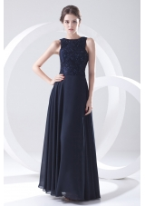 2014 Navy Blue Prom Dress with Lace Bateau Black Empire Chiffon