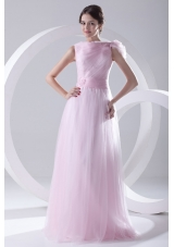 A-line Bateau Sashes Sleeveless Ruching Prom Dress