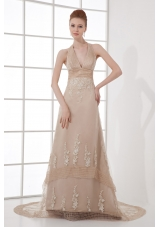 A-line Champagne Halter Top Neck Appliques Backless Court Train Prom Dress