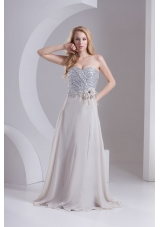 A-line Gray Sweetheart Sleeveless Sequins Prom Dress with Hand Made Flower