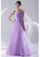 A-line One Shoulder Organza Floor-length Lavender Prom Dress