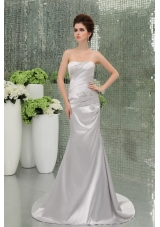 A-line Strapless Sashes and Beadings Silver Prom Dress