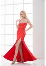 Column Red Sweetheart Sleeveless Beading and Ruching High Slit Prom Dress
