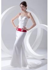 Column Ruchings Belt Beading White Brush Train Dress for Prom