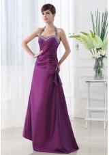 Eggplant Purple Halter Top Beading and Ruching Taffeta A-line Prom Dress