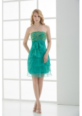 Empire Strapless Tulle Sashes Prom Dress with Beading and Ruching