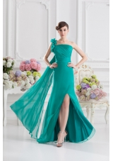 One Shoulder Turquoise Column Handle Made Flowers Prom Dress