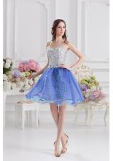 Sweetheart Medium Slate Blue A-line Prom Dress with Beading