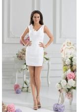 White Column V-neck Hand Made Flowers Mini-length Prom Dress