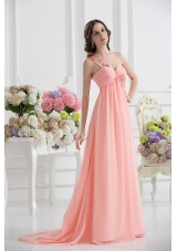 Peach Empire Brush Train Prom Dress with Ruching and Appliques