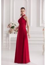 A-line Halter Top Floor-length Ruching Satin Prom Dress