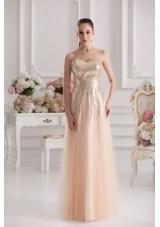 Column Sweetheart Serquins Champagne Floor-length Prom Dress