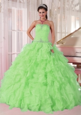 2014 New Spring Green Strapless Ruffles and Beading Elegant Quinceanera Dress for Girl