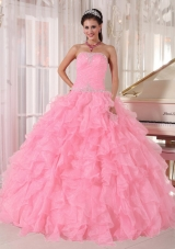 Baby Pink Ball Gown Strapless Floor-length Organza Beading Fashionable Quinceanera Dress