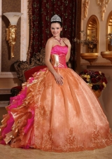 Discount Ball Gown Strapless Ruffles Organza Elegant Quinceanera Dress with Embroidery