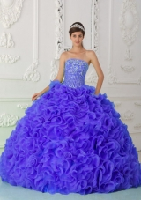Purple Elegant Quinceanera Dress Ball Gown Strapless Organza Beading