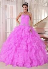 Sweet Ball Gown Strapless Ruffles Organza Beading Fuchsia 2013 Quinceanera Dress