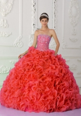 Ball Gown Strapless Red Quinceanera Dress 2014 with Beading and Ruffles