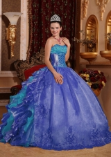 Cheap Ball Gown Blue Quinceanera Dress 2014 with Strapless Floor-length Organza Embroidery