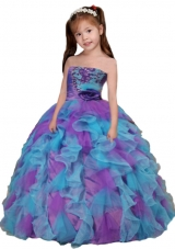 Pretty Multi-colour Strapless Little Girl Pageant Dress with Ruffled Layers
