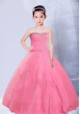 Rose Red Little Girl Pageant Dress with Strapless Ball Gown Ruching