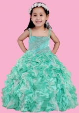 Spaghetti Straps Ruffles and Beading Little Girl Pageant Dress in Turquoise