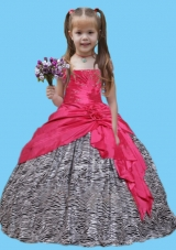 Elegant Red And Zebra Strapless Little Girl Pageant Dress