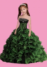 2014 Fashionable Strapless Ball Gown Ruffles Little Girl Pageant Dress