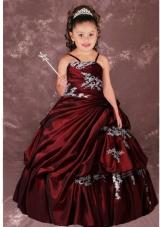 Aque Blue Ball Gown Strapless Leopard Little Girl Pageant Dress ...