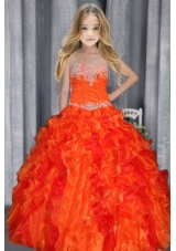 Ball Gown Strapless Appliques Orange Red Little Girl Pageant Dress with Ruffles