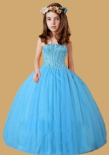 Blue Ball Gown Ruching Beading Little Girl Pageant Dress