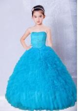 Blue Strapless Beading and Ruffles Floor-length Little Girl Pageant Dress