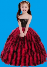 Red and Black Strapless Beading and Ruffles Little Girl Pageant Dress