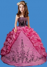 Rose Pink Strapless Embroisery and Pick-ups Little Girl Pageant Dress