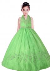 Spring Green Halter Top Neck Appliques Little Girl Pageant Dress