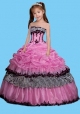 Strapless Appliques Decorate Little Girl Pageant Dress in Rose Pink
