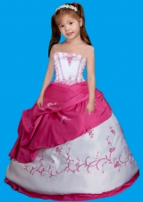 Strapless White and Hot Pink Little Girl Pageant Dress with Embroidery